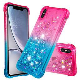 Iphone Plus Liquid Glitter Case Australia - Liquid Gradient Glitter Case Cover For iPhone X XR Xs Max 7 8 Plus Quicksand Shockproof Bling Heavy Duty TPU Phone Cases