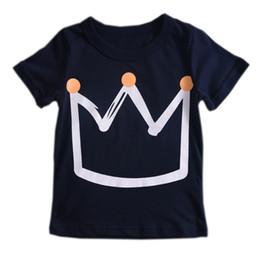 Crown Tee Australia - INS Baby Crown print T-shirt 2019 summer children Tees Boys Girls tops Boutique Designer kids Clothing 2 colors C6477
