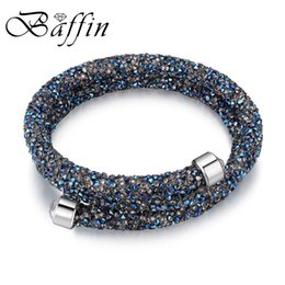 Food channel online shopping - Baffin Charm Bracelet Cuff Bangle Double Layers For Women Crystal From Swarovski Pulseira Women Party Wedding Jewelry Y19051002