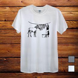 Zebra Print Art Australia - Zebra Banksy Street Art Gift T-Shirt Men Unisex Women Fitted Grey Colour