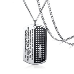 men dog chains cross NZ - Steel Black Color Fashion Men's Cross Bible Pendant Necklace Stainless Steel Link Chain Necklace Jewelry Gift for Men Boys J1004