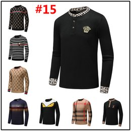 Wholesale 18MODEL new best selling high end casual fashion round neck men s polo sweater brand cotton pullover men s sweater free shipp