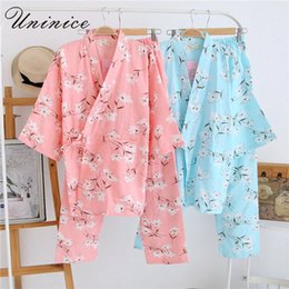 $enCountryForm.capitalKeyWord Australia - Japanese Kimono Pajamas Sets Women's Yukata Robes Long Pants Sleepwear Bathrobe Cotton Dress Suits Nightgown Leisure Homewear