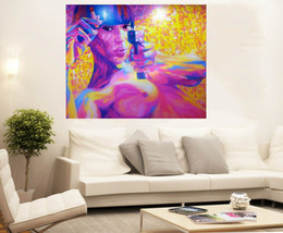 art painting nude girls Australia - Girl Nude purple GUN STREET ART large wall Home Decor Handpainted &HD Print Oil Painting On Canvas Wall Art Canvas Pictures 200217