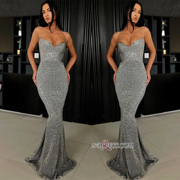 $enCountryForm.capitalKeyWord Australia - 2019 New Design Gray Mermaid Sequins Prom Dresses Sexy Straps Spaghetti Floor Length Evening Gowns with Corset Back Cheap Party Wear BC0274