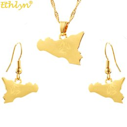 $enCountryForm.capitalKeyWord Australia - Ethlyn Italy Sicily Map Two-pieces Earring Pendants Jewelry Sets Gold Color Italian Sicilia Jewelry Gifts S290