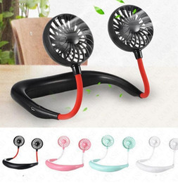 Hanging Neck Fan USB Rechargeable For Summer Sports Hanging Dual Cooling Mini Fan 360 Degree Rotating Neckband Lazy Neck Hands Free D61702 on Sale