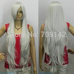 kanekalon lace wigs Canada - New Silvery Gray white Extra Long Straight Cosplay women Wig queen Kanekalon no lace hair wigs