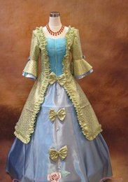 $enCountryForm.capitalKeyWord Australia - Freeship light blue purple white bowknot ruffled long ball gown medieval dress Renaissance Gown princess Victoria dress ball stage