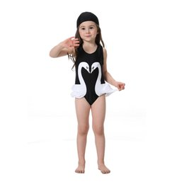 $enCountryForm.capitalKeyWord UK - Girls Swimwear Kids Cartoon Bikini Suits Child Beach Wear Summer Clothes 2-8T Baby One piece Swimsuits with Hat 2PCS lot Flamingos Swinwear
