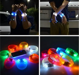 Glow banGles online shopping - Music Activated Sound Control Led Flashing Bracelet Light Up Bangle Wristband Club Party Bar Cheer Luminous Hand Ring Glow Stick