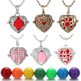 Mexican Bola Pendant Australia - Mexican Bola Angel Caller Pendant Necklace Women Pregnancy Baby Love Heart-Shaped Hollow Cage Bell Pendant Fit 1pcs 16mm Chime Ball Jewelry