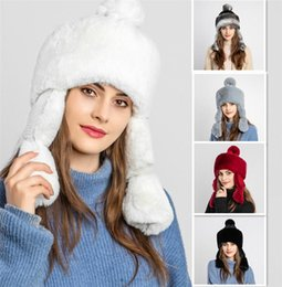 table hair Australia - Winter Hat Creative New Adult Rabbit Hair Earmuffs Plus Velvet Princess Hat Snow Sports Winter Warm Fashion Plush Hat