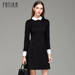 45906bd83ab2 Fatika Fashion Autumn Winter Women's Elegant Casual Dress Slim Peter Pan  Collar Collar Long Sleeve Black Dresses For Women Y190425