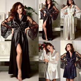 d50057548e13 Lencería sexy vestido de traje de seda de las mujeres Kimono camisón  camisón ropa de dormir
