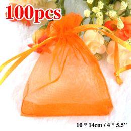Stationery Wholesale Packs Australia - Sale 100pcs lot 10X14cm Orange Color Packing Drawable Organza Bags Stationery Holders Gift Bags Sachet Organza
