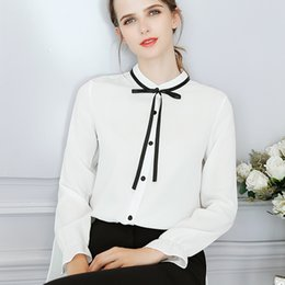 ties long NZ - Spring and Summer New Long Sleeve Shirt Women's Slim Pure Color Butterfly Tie Top Fashion Large-Size Long Sleeve Leisure Chiffon Shirt