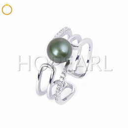 ring findings without pearl solid sterling silver zircons cuff ring semi-finished mountings pearl accessories for women on Sale