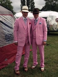 hot man wear tuxedo NZ - Custom Made Hot Pink Men Suit Groom Wear Jacket Slim Fit Groom Tuxedo Style Suits Prom Suits Men Blazers (Jacket+Pants+Vest)