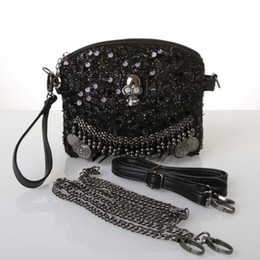 Skull Tote Bags Black Leather Australia - Women Shoulder Bags Skull Totes Punk Black 2019 New Women Leather Handbags Sequins Chain Ladies Small Crossbody Bags for