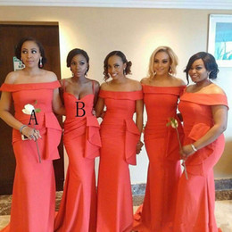 Light pLus size bridesmaid dress online shopping - African Coral Satin Mermaid Bridesmaid Dresses Portrait Neck Ruched Ruffles Floor Length Plus Size Wedding Guest Maid Of Honor Dresses BM097
