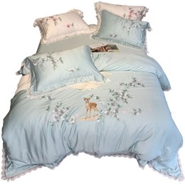 deer bedding sets 2019 - High-end Tencel 4-piece bedding set 100% lyocell chun tian si Princess dreamy Merlin sika deer embroidered lace four-pie