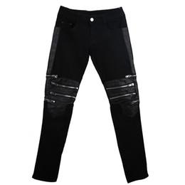 Wholesale dance jeans for sale – denim 28 New Men s Hairdresser fashion street dance PU zipper jeans hip hop pants slim fit trousers costumes