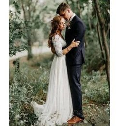 sexy country shirts Australia - Fall 2019 Sexy Country Wedding Dresses with 3   4 Sleeves V Neck Backless A Line Sweep Train Ivory Lace and Chiffon Cheap Bridal Gowns