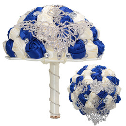Artificial Christmas Bouquets UK - Royal blue and Ivory Wedding Flowers Luxury Rhinestone Wedding Bouquets Decorated with Crystal Rose Artificial Flowers Brooch bouquet