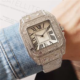 Wholesale Fashion watches for men and women all diamond strap quartz movement women watch auto date high quality deisgner men watches montre de luxe