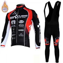 Cube jersey bib online shopping - 2019 CUBE team Men Cycling winter thermal Fleece Long Sleeve Jersey Set MTB Bike Maillot Ropa Ciclismo bib pants suit bicycle Sportswear