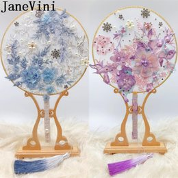 crystal beaded bouquet Canada - JaneVini 2019 Chinese Style Beaded Bridal Brooch Bouquet Fan Blue Purple Pearls Crystals Flowers Luxury Jewelry Bride Wedding Bouquets