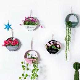 Pots Home Australia - Wall Hanging Flower Pots Garden Succulent Plants Small Iron Flower Basket Home Decoration