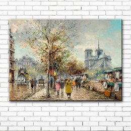 tree scenery paintings UK - impression figure street tree light scenery canvas printings oil painting printed on canvas wall art decoration picture no frame