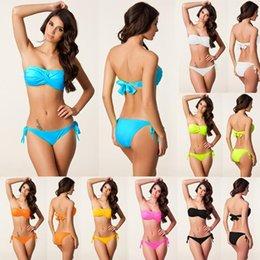 $enCountryForm.capitalKeyWord NZ - Strapless Bikini Sexy bikinis women Set Off Shoulder Solid Bandage Push Up Padded Swimwear Swimsuit Beachwear biquini