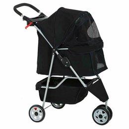 Perro Gato Negro Nuevo cochecito del animal doméstico de la jaula 3 ruedas del cochecito plegable de viaje Carrier T13 en venta