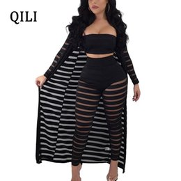 $enCountryForm.capitalKeyWord Australia - QILI Women 3 Piece Set Beach Jumpsuits 2018 Summer Long Sleeve See Through Sexy Jumpsuits Black White 3 Piece Casual Overalls