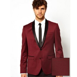 grey red wine suits NZ - Custom Made Wedding tuxedos mens suits design male best man suits wine red three pieces suit Groom Wear (Jacket+Pants)