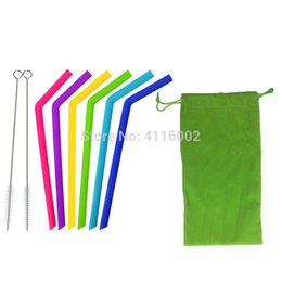 Hot Bar Australia - hot 50sets Food grade silicone drinking straw reuseable fruit juice straw for home party Bar Accessories