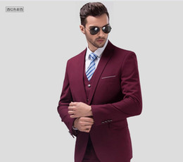 grey red wine suits NZ - Wine red man handsome groom classic wedding dress PROM dress suits formal occasions three-piece suit (jacket + pants + vest)