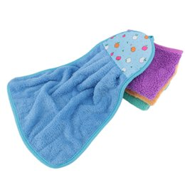 Plush Towels UK - Plush Hanging Wipe Hand Towel Cartoon Small Fruit Pattern Towel Solid Color Microfiber Home Kitchen Accessories