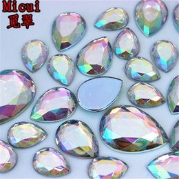 $enCountryForm.capitalKeyWord Australia - Micui 10*14 13*18 18*25mm AB Clear Crystal Drop Acrylic Rhinestones Appliques Flat Back Crystal Stones Crafts Decorations ZZ719