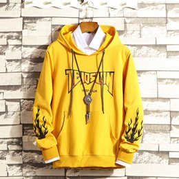 $enCountryForm.capitalKeyWord Australia - Korean Fashion Hoodies Men Thick Hooded Cotton Yellow Hip Hop Stylish Hoodies Couple Thin Youth Casual Slim Fit Men Hoodie Print