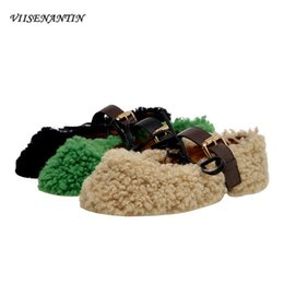 green flats NZ - VIISENANTIN Lamb Fur Shoes Women's Autumn Winter Outwear Shoe Casual 2019 New Belt Buckle Peas Shoes Flat Green