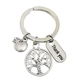 $enCountryForm.capitalKeyWord UK - New Style Ancient Silver Thank You Letter Apple Tree Creative Pendant Keychain Keyring Popular Hot Good Friends Women Men Jewelry Best Gifts