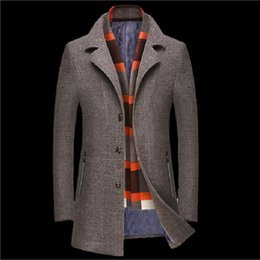 shawl collar long wool coat Canada - Men Coat Wool Overcoat Men Woolen Blends With Scarf Breathable Outwear Thick wool woolen coat lapel Shawl Collar