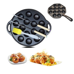 $enCountryForm.capitalKeyWord Australia - Cast Iron Uncoated Non-stick Octopus Ball Takoyaki Maker 12 Hole 15 Hole Meatball Mold Round Cake Baking Pan Barbecue Plate J190722