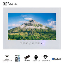 full hd led lcd NZ - 32 inch Smart Wi-Fi Internet Android White Full HD 1080 IP66 Waterproof Flat Screen Bathroom LED TV Could Connect Fire TV Stick