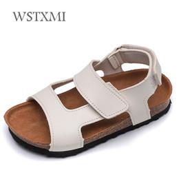 $enCountryForm.capitalKeyWord Australia - Summer Children Leather Sandals for Boys Cork Sandals Non-slip Soft Girls Beach Shoes White Kids Outdoor Fashion Sport
