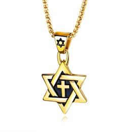 snake pendants Australia - Fashion Cross Men Stainless Steel Six Star Pendant Necklace Snake Chains Hip Hop Jewelry Design Gold Silver Black Necklaces For Mens Gift